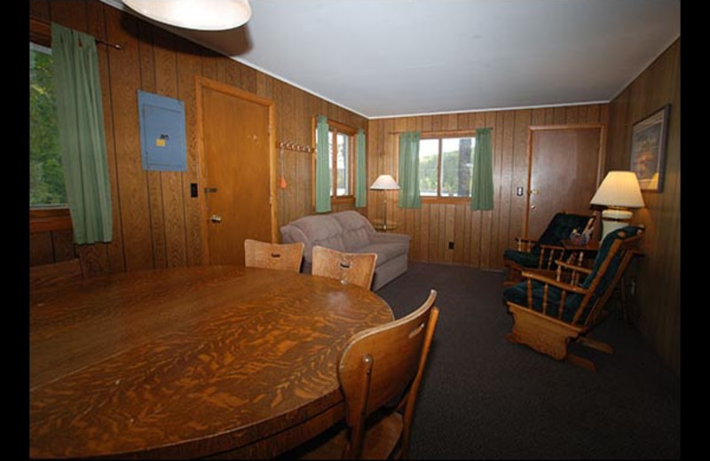 Cabin interior at Isle O' Dreams Lodge.