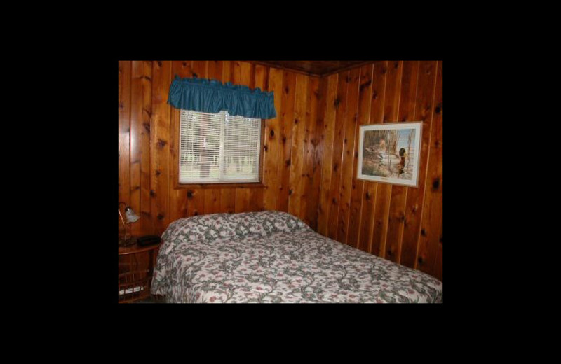 Cabin bedroom at Greer Mountain Resort.