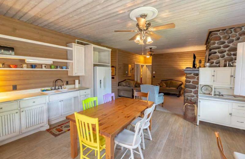 Cabin kitchen at The Red Door Resort.
