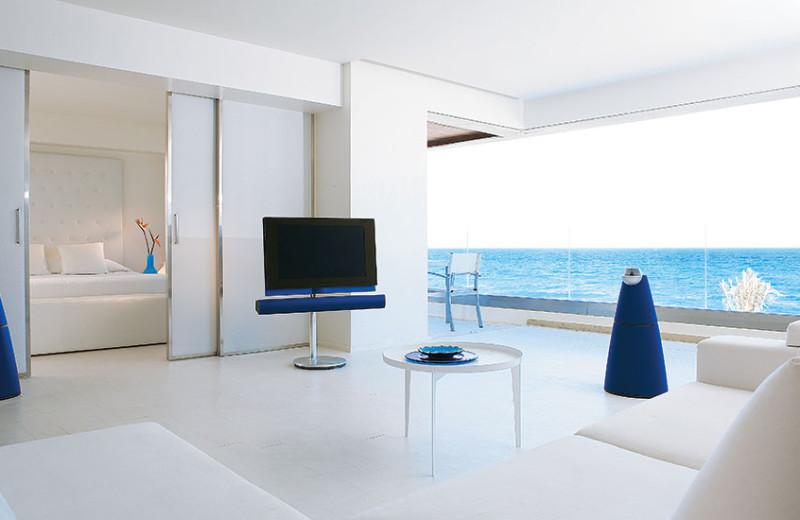 Guest room at Grecotel Amirandes.