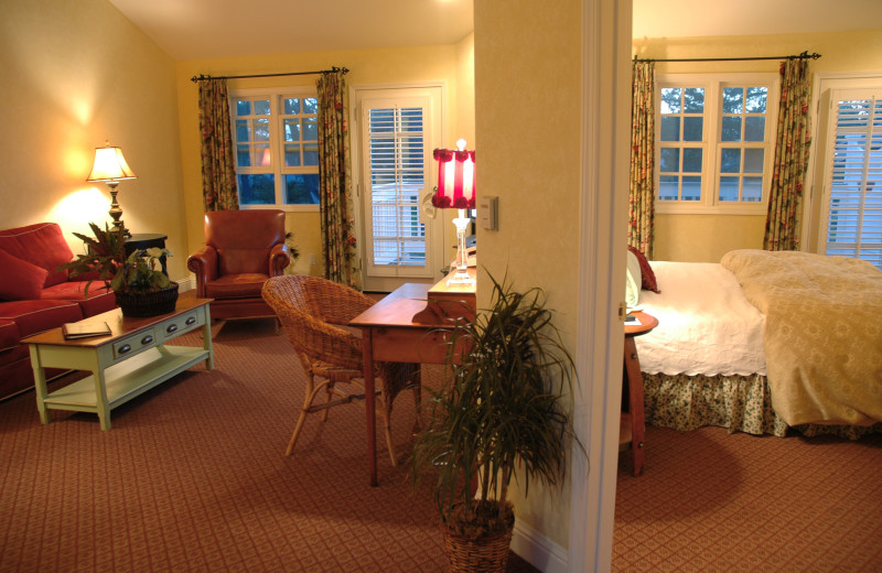 Guest room at Cambria Pines Lodge.