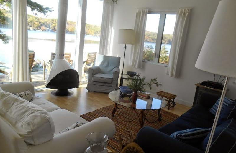 Cottage living room at Bob's Lake Cottages.