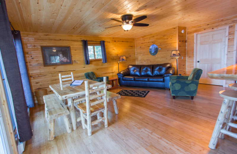Cabin living room at Krueger's Harmony Beach Resort.
