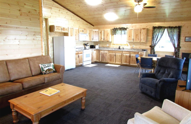 Cabin living room at Pine Aire Resort.