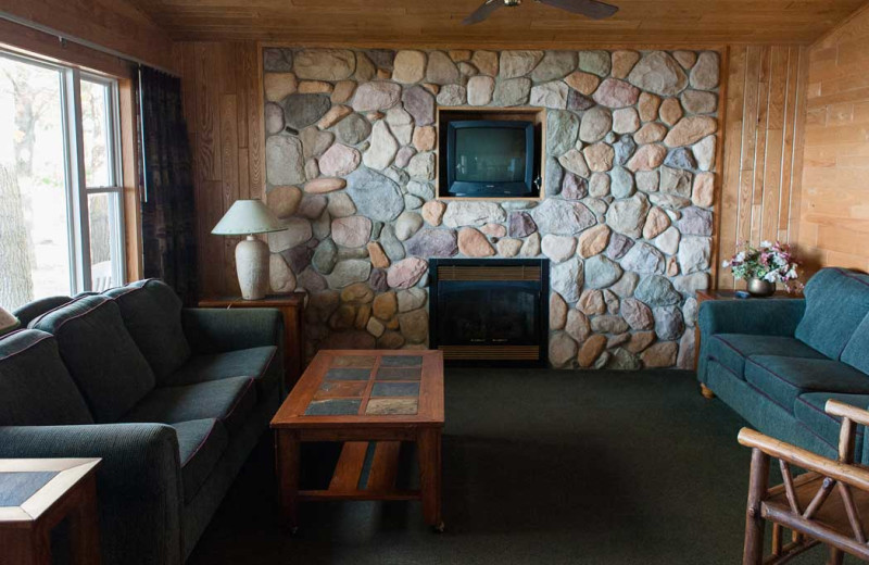 Cabin living room at Gull Lake Resort.