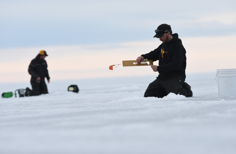 Ice fishing at Arnesen's Rocky Point Resort.
