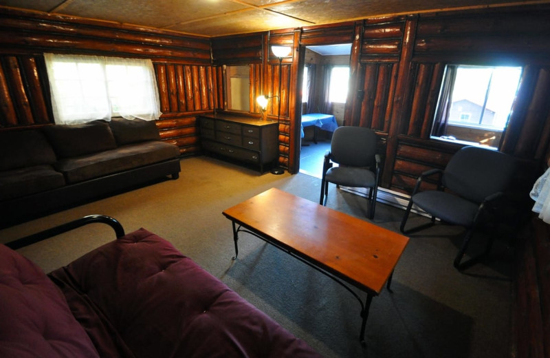 Cabin living room at Wolseley Lodge.