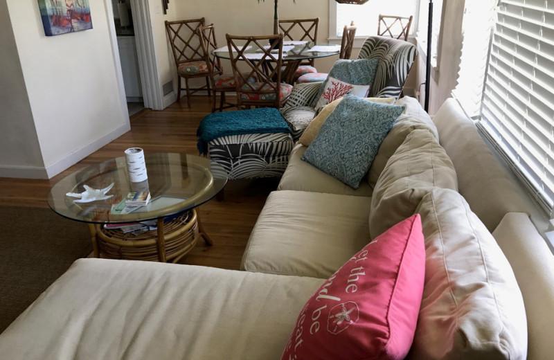 Rental living room at Saint Augustine Beach Vacation Rentals.