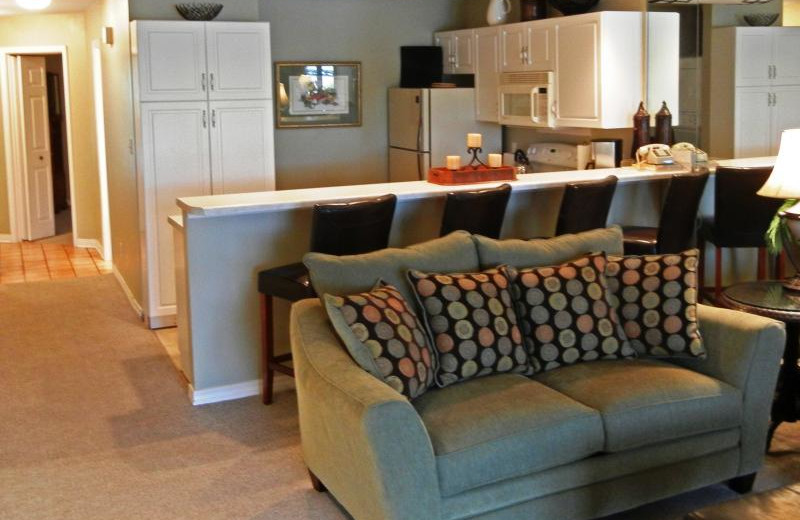 Rental kitchen and living room at Seascape Resort.