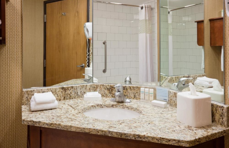 Guest bathroom at Hampton Inn Duluth.