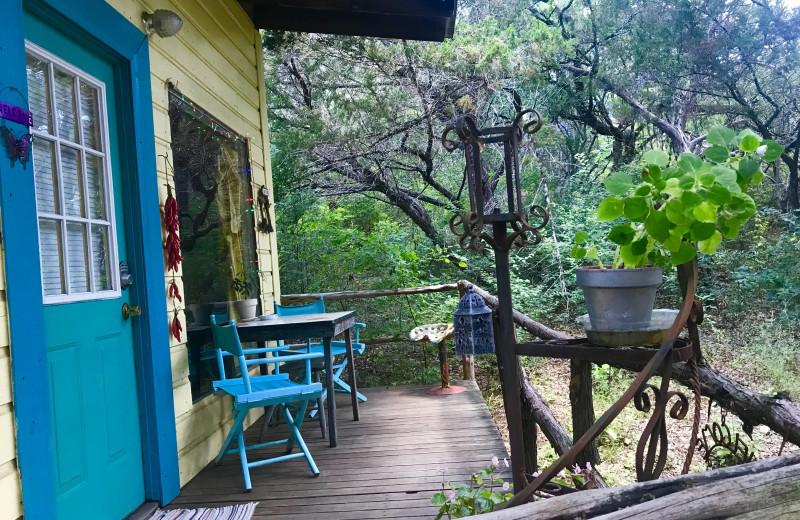 Cabin deck at Creekside Camp & Cabins.