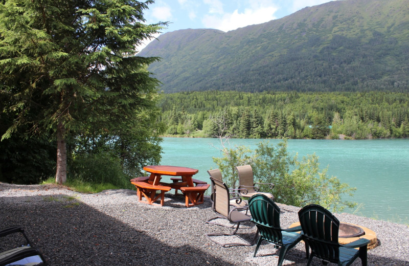 House patio at Kenai River Drifter's Lodge.