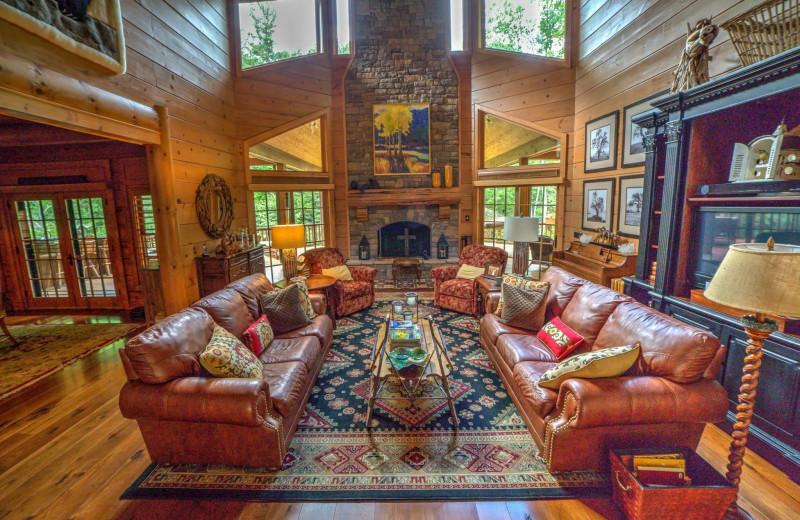 Living room at The Lodge at River Run.