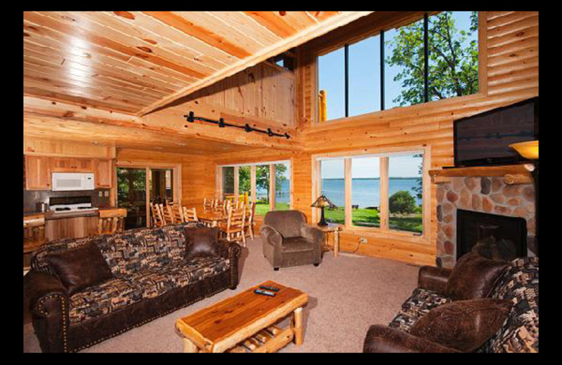 Cabin living room at Brindley's Harbor Resort.