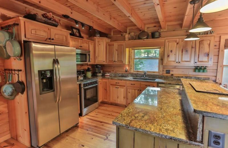 Rental kitchen at Blue Sky Cabin Rentals.