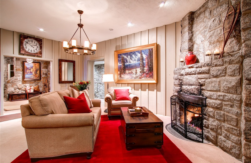 Fireplace lounge at Snowpine Lodge.