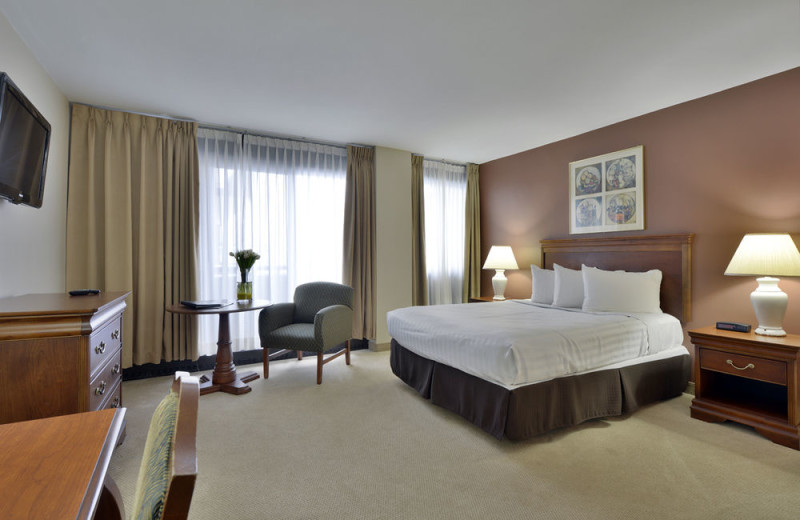 Guest room at Embassy Hotel and Suites.