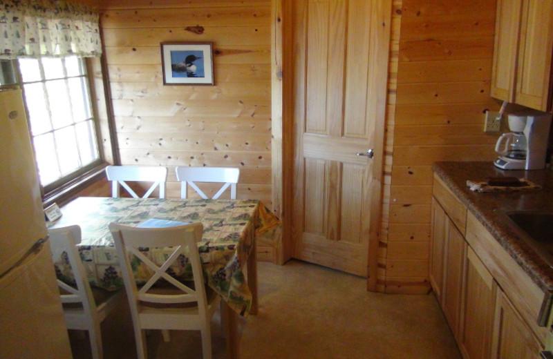 Cabin kitchen at Loon Lake Lodge.