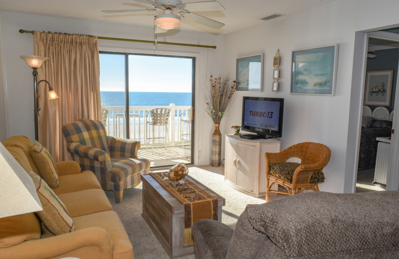 Rental living room at Seaside Vacations.