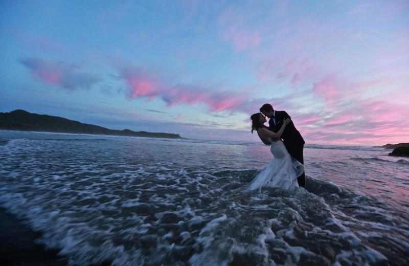 Weddding couple at Long Beach Lodge Resort.