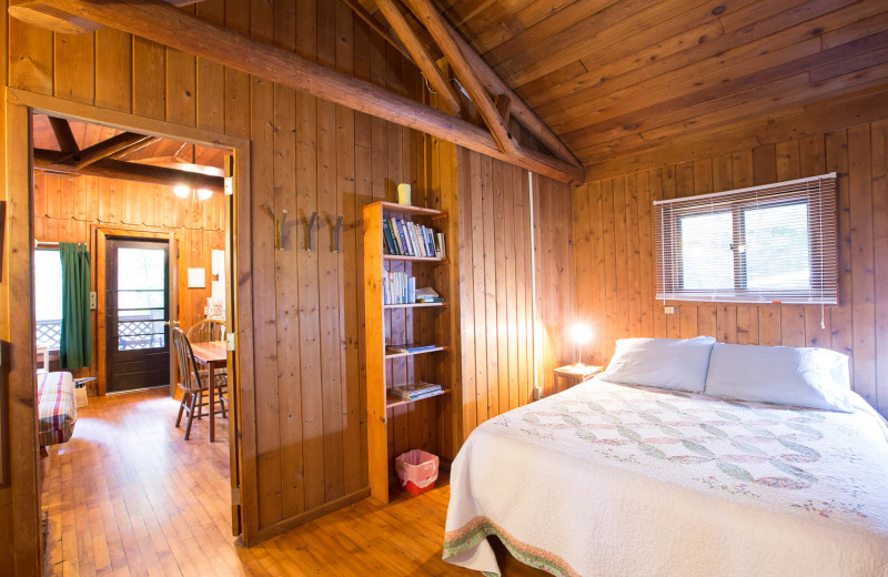Cabin bedroom at Montfair Resort Farm.