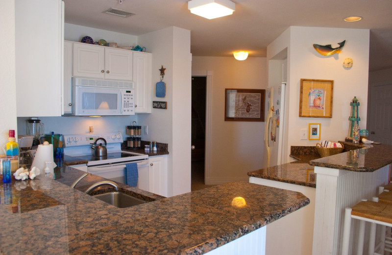 Rental kitchen at Pirate's Cove Realty.
