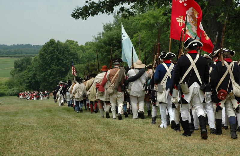 Civil war reenactment near The Quarters at Lake George.