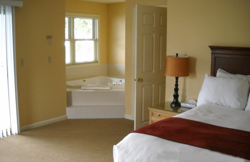 Rental bedroom at The Quarters at Lake George.