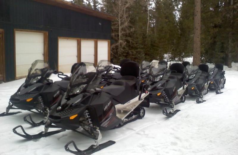 Snowmobiles at Pinewoods Resort.