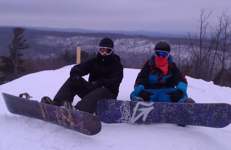 Snowboarding at Marquette Mountain Ski Area.