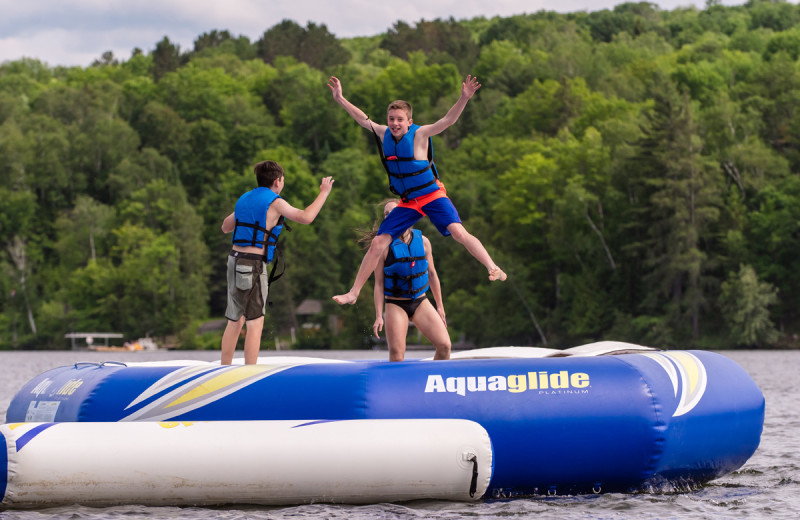Water trampoline at Deerhurst Resort.