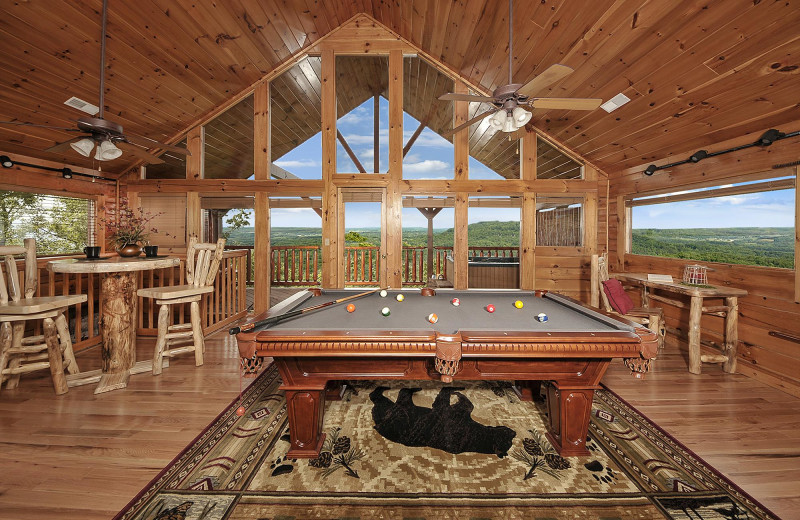 Cabin game room at Outrageous Cabins LLC.