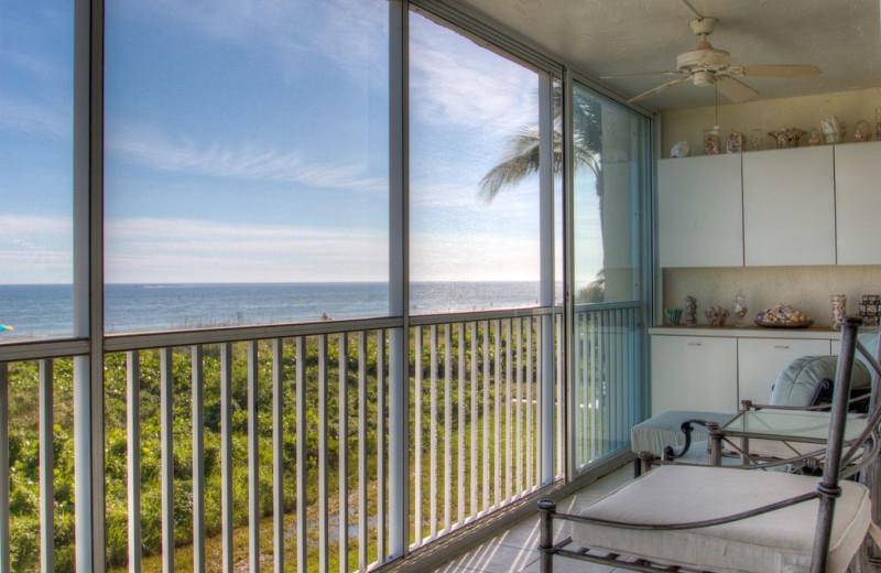 Rental balcony at Sanibel Vacations.