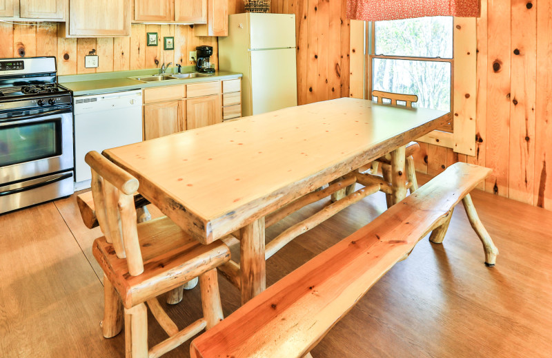 Cabin dining room at Northern Lights Resort & Outfitting.