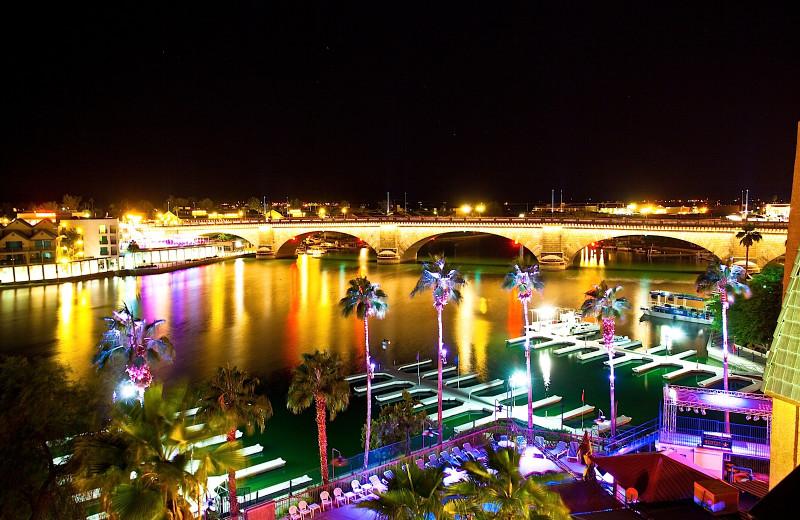 Night time view of marina at London Bridge Resort.