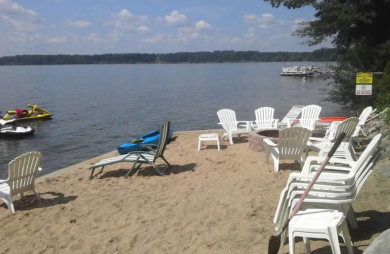 Beach at Lake Cabins Resort.