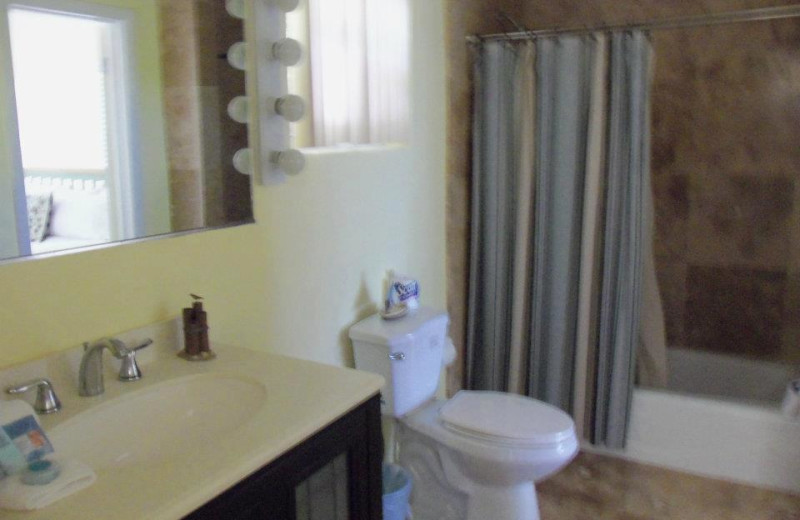 Bathroom and shower view at Coral Bay Resort.
