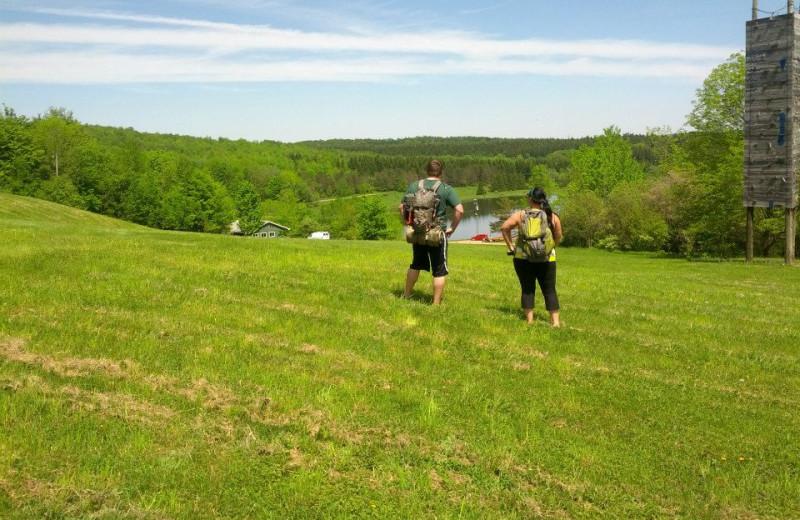 Hiking at The Woods At Bear Creek Glamping Resort.