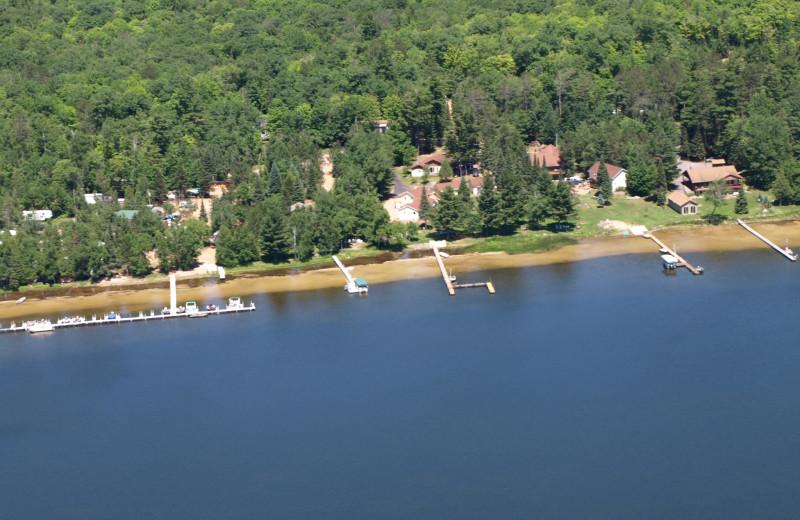 Aerial view of Wind Drift Resort.