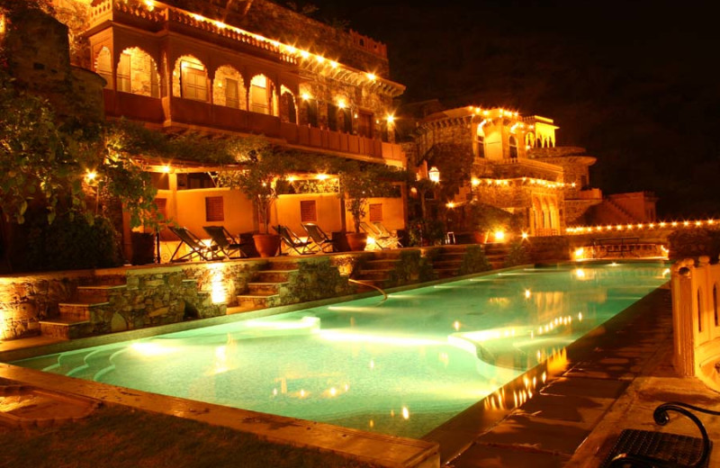 Outdoor pool at Neemrana Fort-Palace.