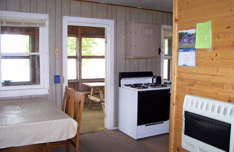 Cabin interior at Maple Island Resort.