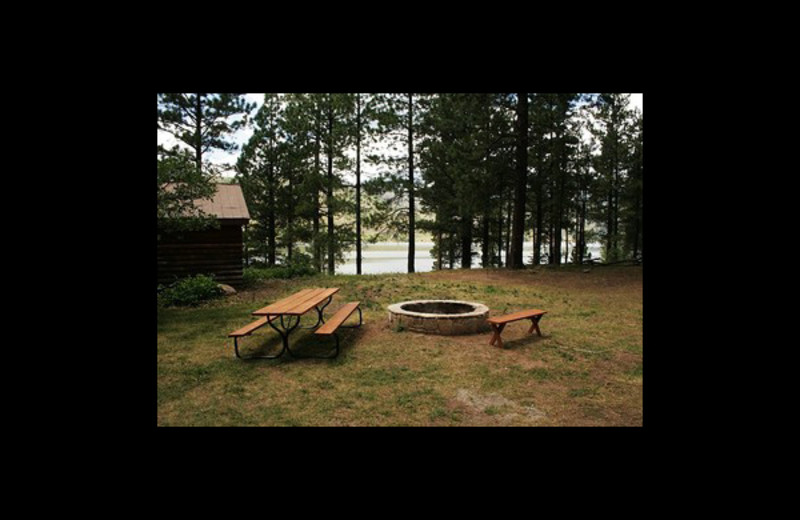 Fire pit at Elk Point Lodge.