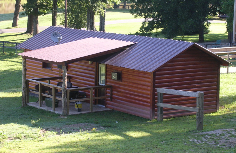 Cabin exterior at Panther Valley Ranch.