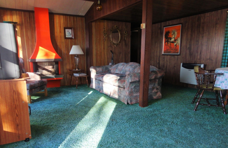Cabin living room at Gypsy Villa Resort.