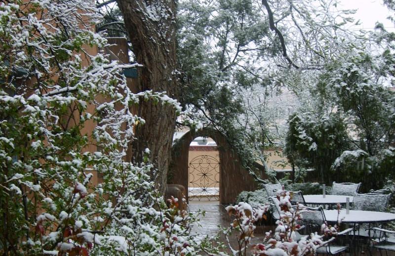 Exterior winter view of Pueblo Bonito.