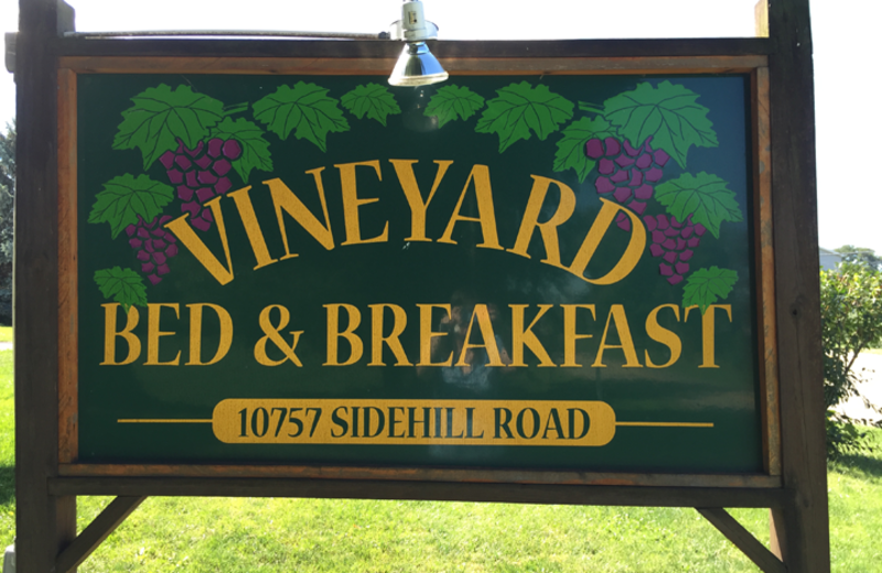 Welcome sign at Vineyard Bed & Breakfast.