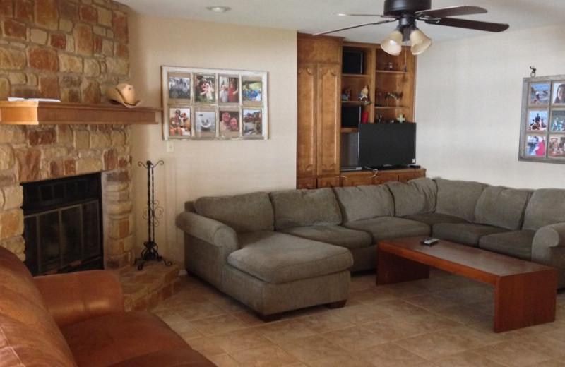 Rental living room at LBJ Schmidt House.