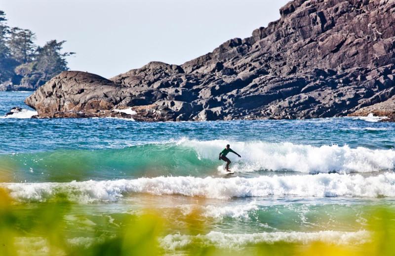 Surfing at Long Beach Lodge Resort.
