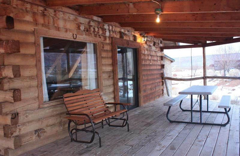 Cabin porch at Morris' Last Resort.