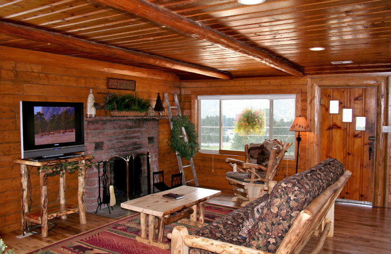 Chalet living room at Timber Creek Chalets.